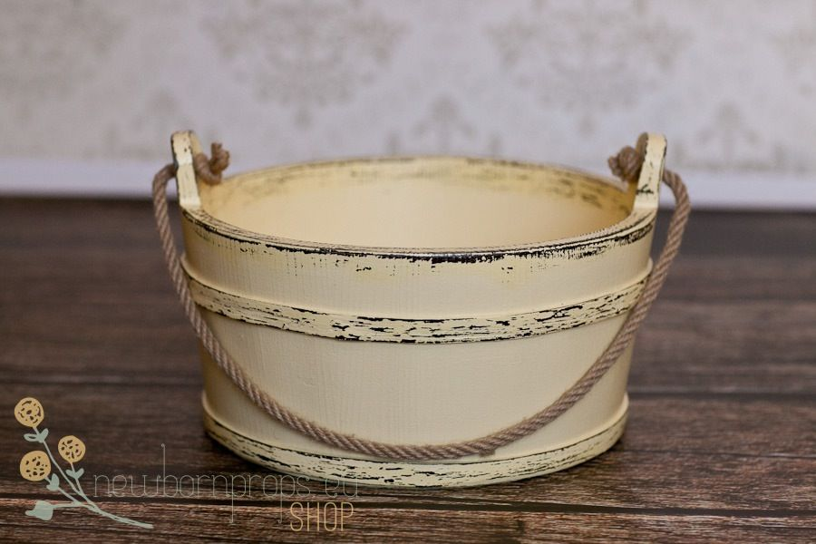 Old Fashioned Distressed Bucket Rope Newbornprops