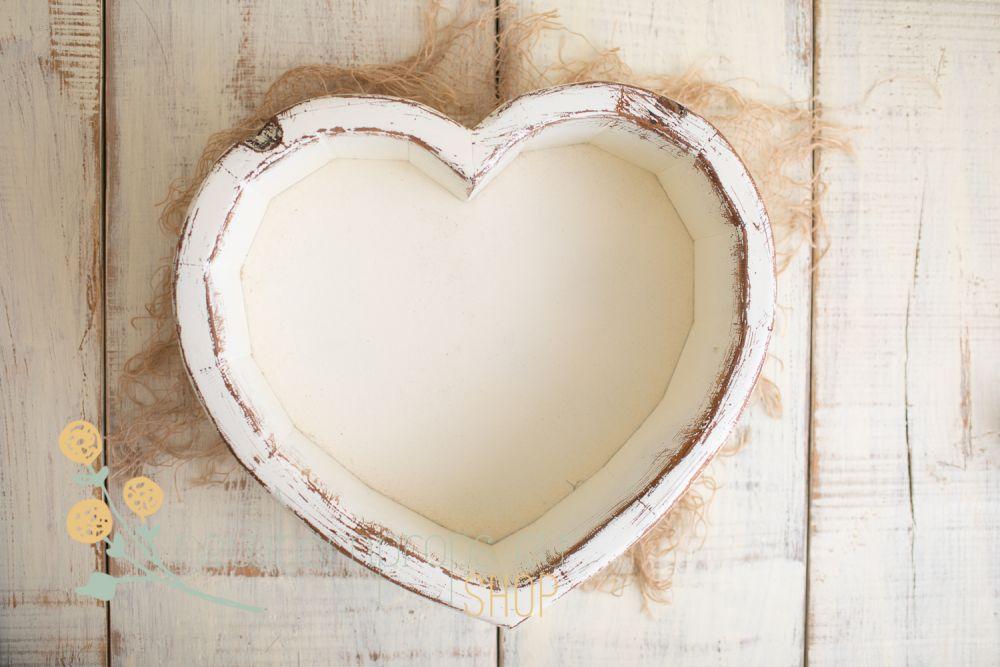 Heart Bowl Distressed Look 187 Wooden Props Newbornprops Eu