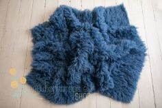 Authentic flokati rug 100% wool slate blue EXCLUSIVE 2000GR