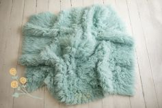 Authentic flokati rug 100% wool whisper mint