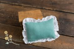 Newborn pillow - spring green - with white lace
