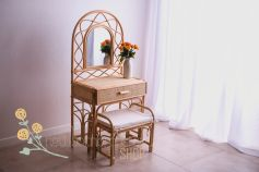 Rattan make-up table and stool