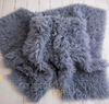 Authentic flokati rug 100% wool solid grey